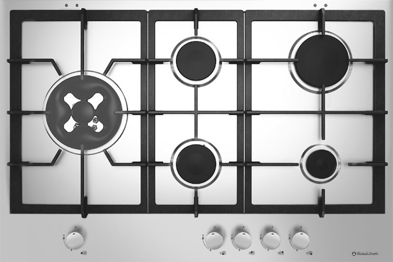 gaskochfeld 5 flammig mit wokbrenner 75 cm edelstah wok brenner gas kochen ebay. Black Bedroom Furniture Sets. Home Design Ideas